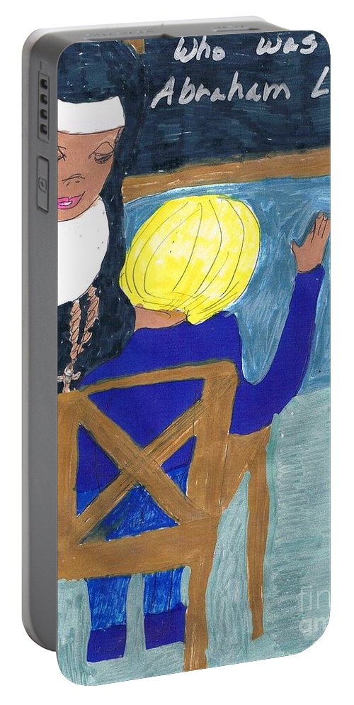 A Catholic Sister Teaching   Portable Battery Charger featuring the mixed media Taught By Nuns by Elinor Helen Rakowski