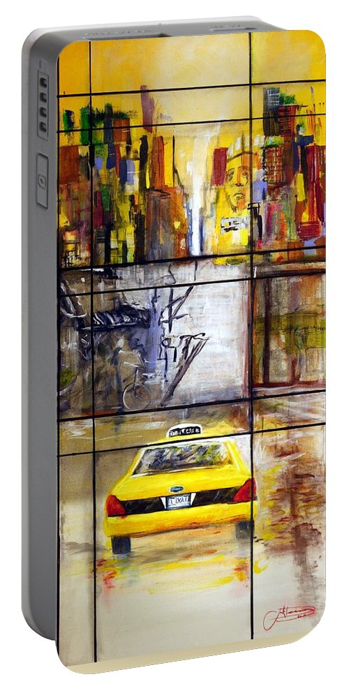 Taxi Portable Battery Charger featuring the painting Taxi 7 by Jack Diamond