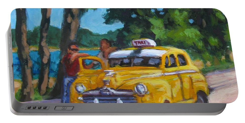 Old Cars Portable Battery Charger featuring the painting Taxi Y Amigos by John Malone