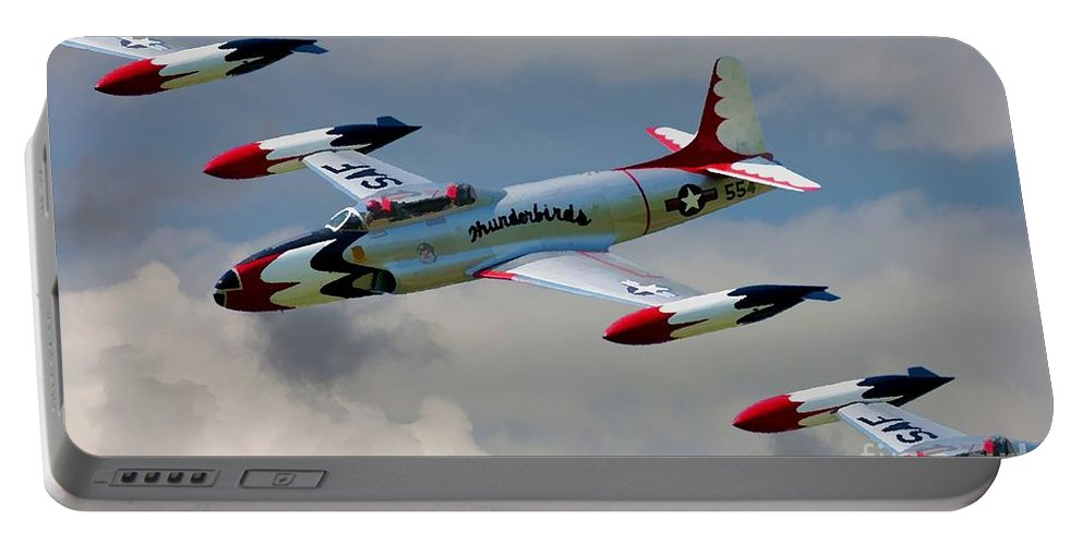 Lockheed Portable Battery Charger featuring the digital art Tbirds Lockheed T-33 Shooting Star by Tommy Anderson
