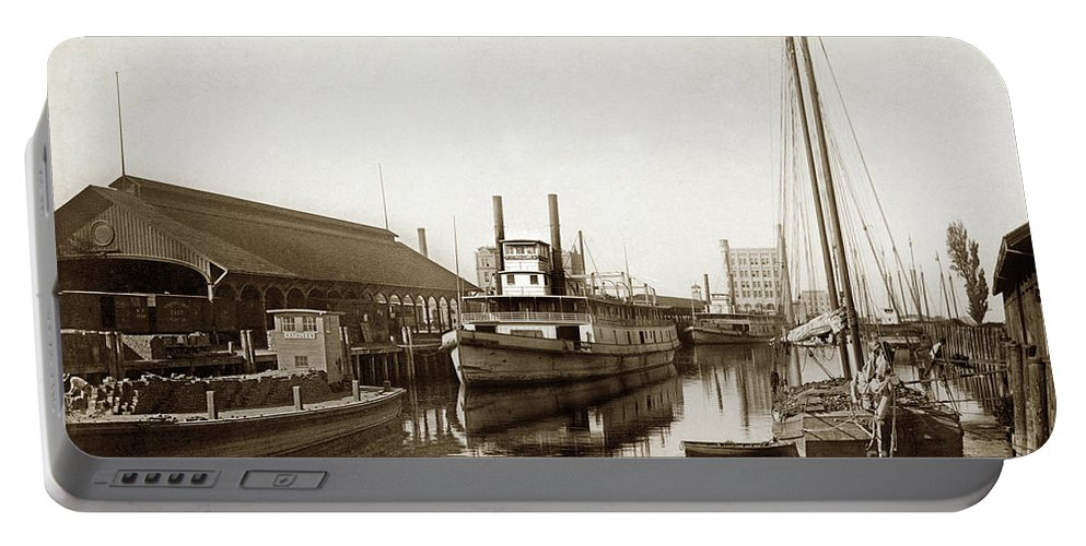 T.c. Walker Portable Battery Charger featuring the photograph T.c. Walker Paddle Riverboat City Of Stockton Riverboat And Kath by California Views Archives Mr Pat Hathaway Archives