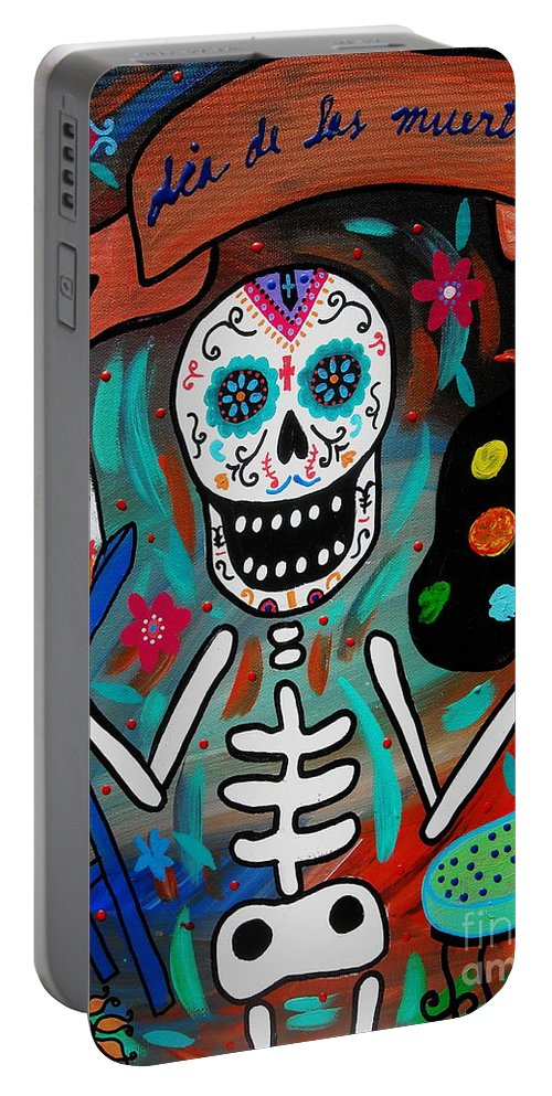 Dia Portable Battery Charger featuring the painting Te Amo Painter Dia De Los Muertos by Pristine Cartera Turkus