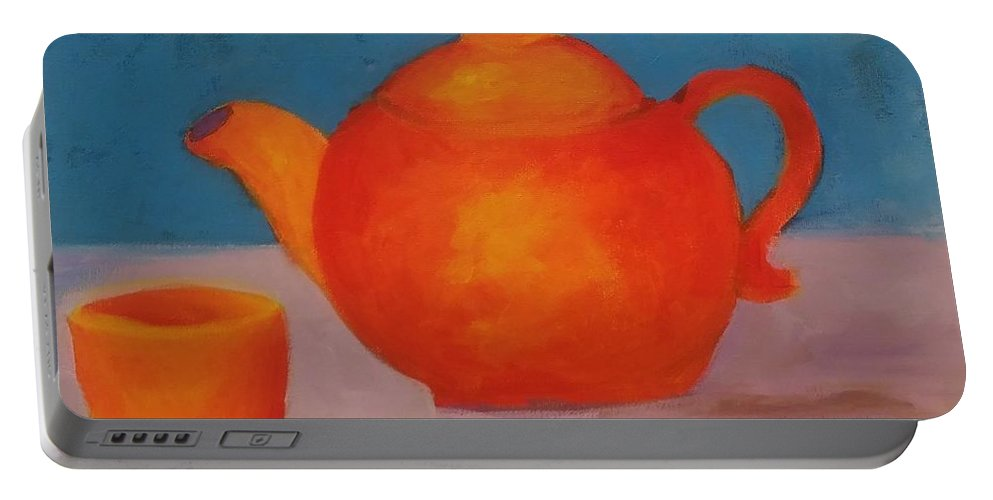 Orange Portable Battery Charger featuring the painting Tea? by Barbara Sheehan