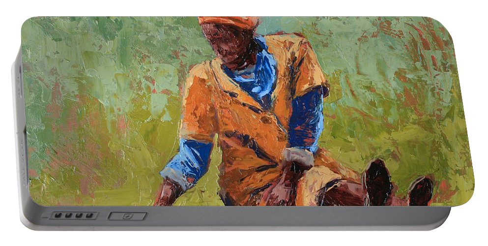 Figures Portable Battery Charger featuring the painting Tea Break by Yvonne Ankerman