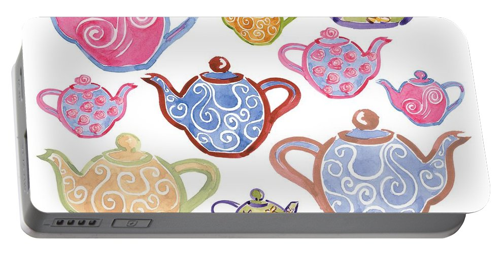 Tea Portable Battery Charger featuring the digital art Tea For Two by Sarah Hough