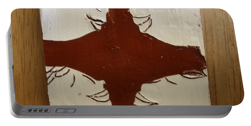 Jesus Portable Battery Charger featuring the ceramic art Tea Time - Tile by Gloria Ssali