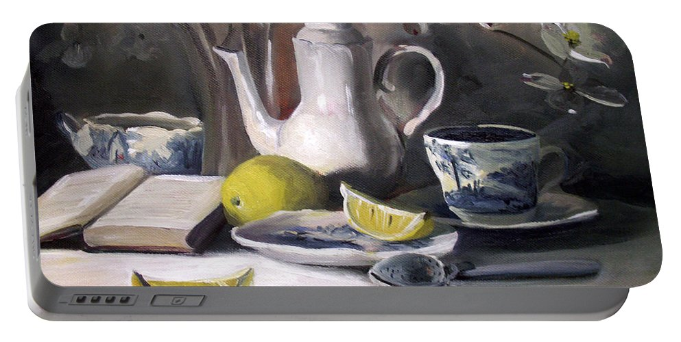 Lemon Portable Battery Charger featuring the painting Tea With Lemon by Nancy Griswold