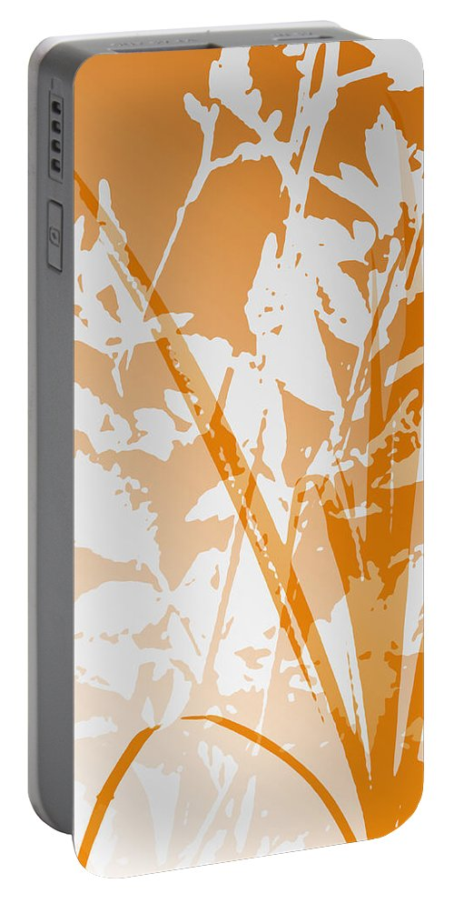 Abstract Portable Battery Charger featuring the digital art Team Orange by Ruth Palmer