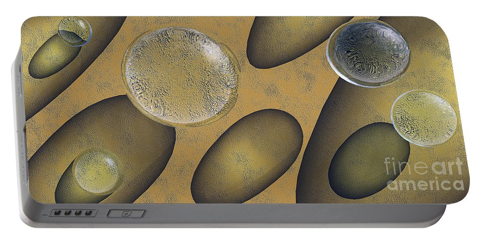 Tear Portable Battery Charger featuring the digital art Tears Of Gold by Richard Rizzo