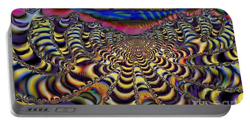 Cloudy Day Portable Battery Charger featuring the digital art Technicloudy by Ron Bissett
