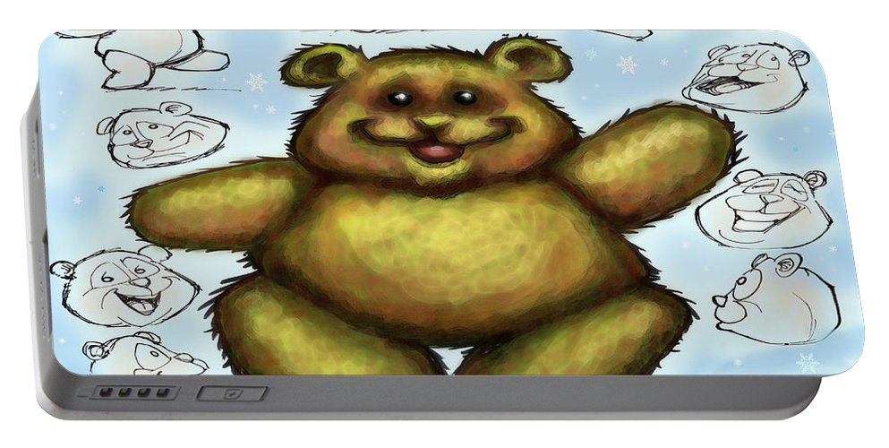 Bear Portable Battery Charger featuring the painting Teddy Bear by Kevin Middleton