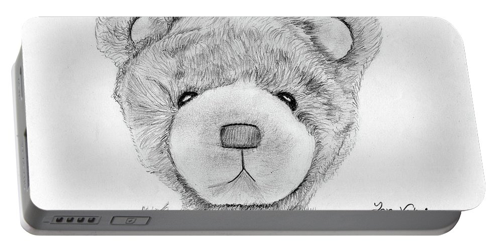 Ink Portable Battery Charger featuring the drawing Teddybear Portrait by M Valeriano