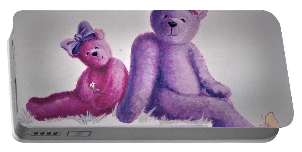 Teddy Portable Battery Charger featuring the painting Teddy's Day by Suzn Art Memorial
