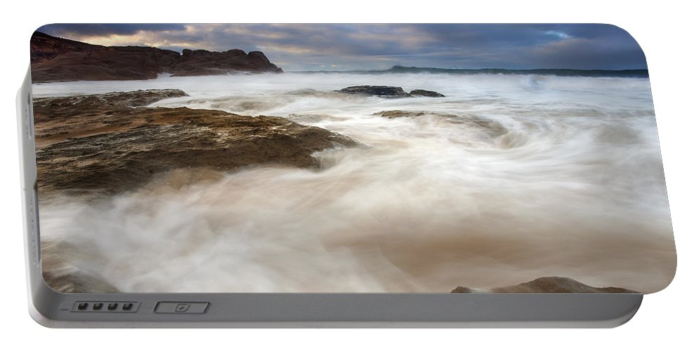 Bowl Portable Battery Charger featuring the photograph Tempestuous Sea by Mike Dawson