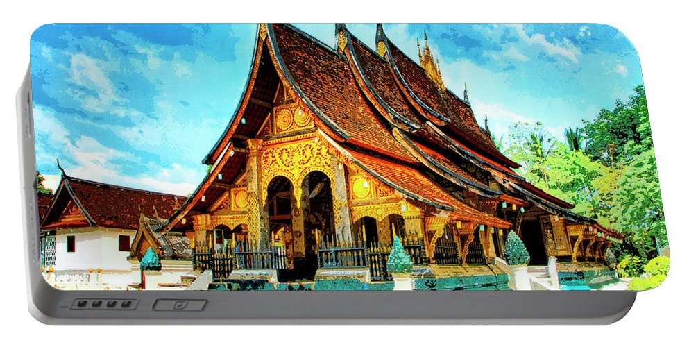 Temple In Laos Portable Battery Charger featuring the mixed media Temple In Laos by Dominic Piperata