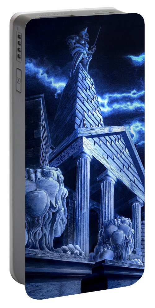 Hercules Portable Battery Charger featuring the drawing Temple Of Hercules In Kassel by Curtiss Shaffer
