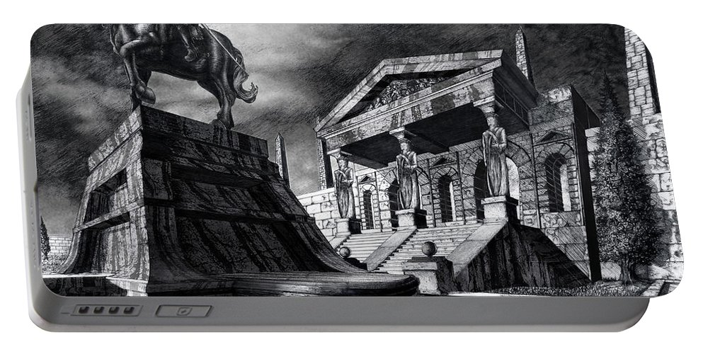 Greek Architecture Portable Battery Charger featuring the drawing Temple Of Perseus by Curtiss Shaffer