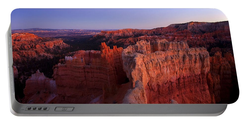 Hoodoo Portable Battery Charger featuring the photograph Temple of the setting sun by Mike Dawson
