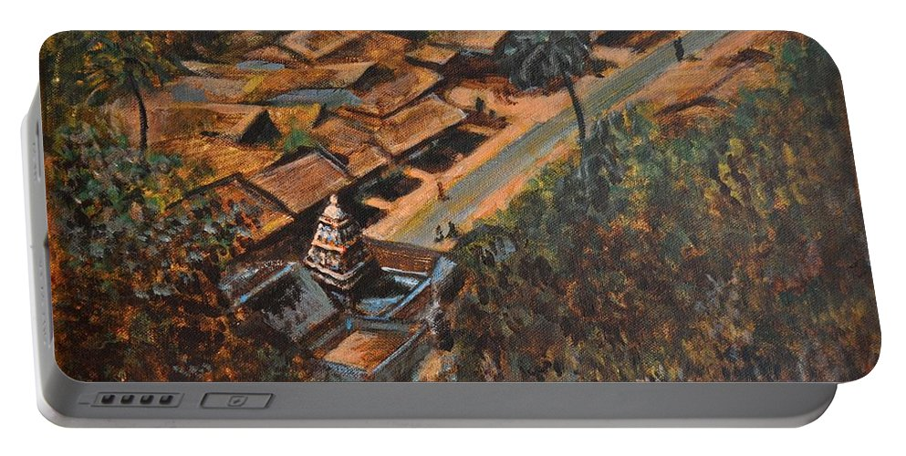 Temple Portable Battery Charger featuring the painting Temple Town by Usha Shantharam