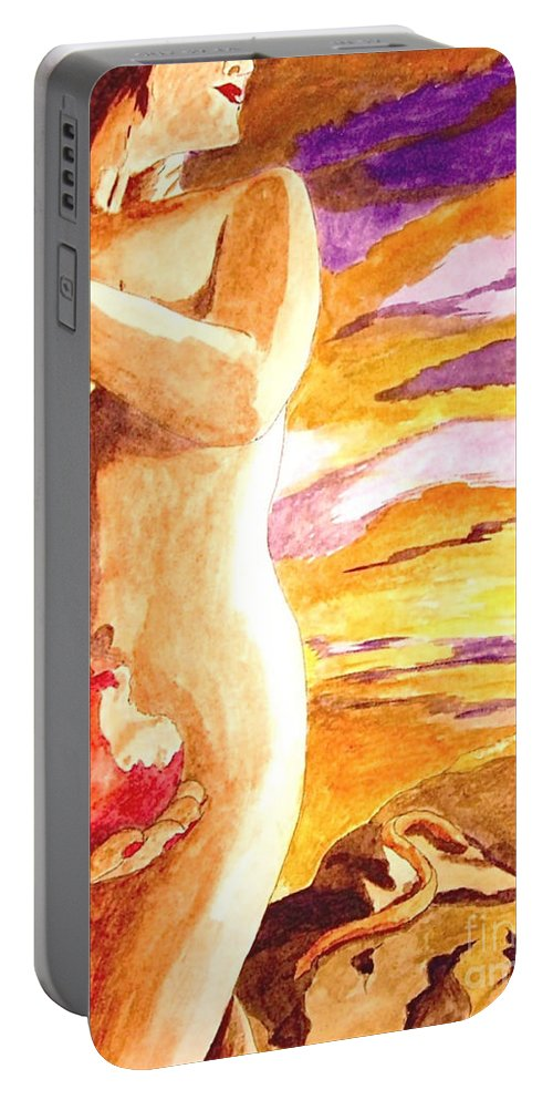 Watercolor Portable Battery Charger featuring the painting Temptation by Herschel Fall