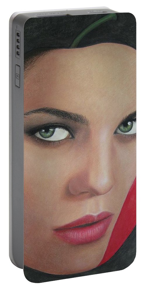 Woman Portable Battery Charger featuring the painting Temptation by Lynet McDonald