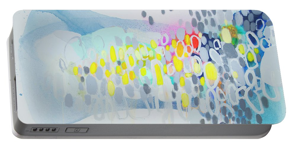 Abstract Portable Battery Charger featuring the painting Ten O'clock Flight by Claire Desjardins