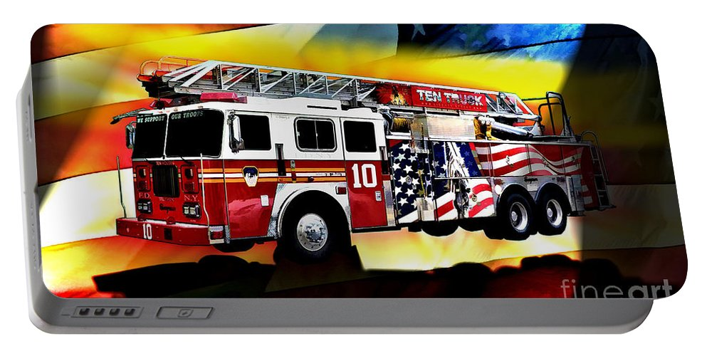 Seagrave Portable Battery Charger featuring the digital art Ten Truck Fdny by Tommy Anderson