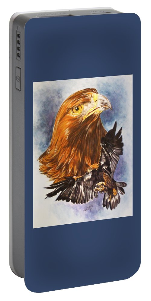 Eagle Portable Battery Charger featuring the mixed media Tenacity by Barbara Keith