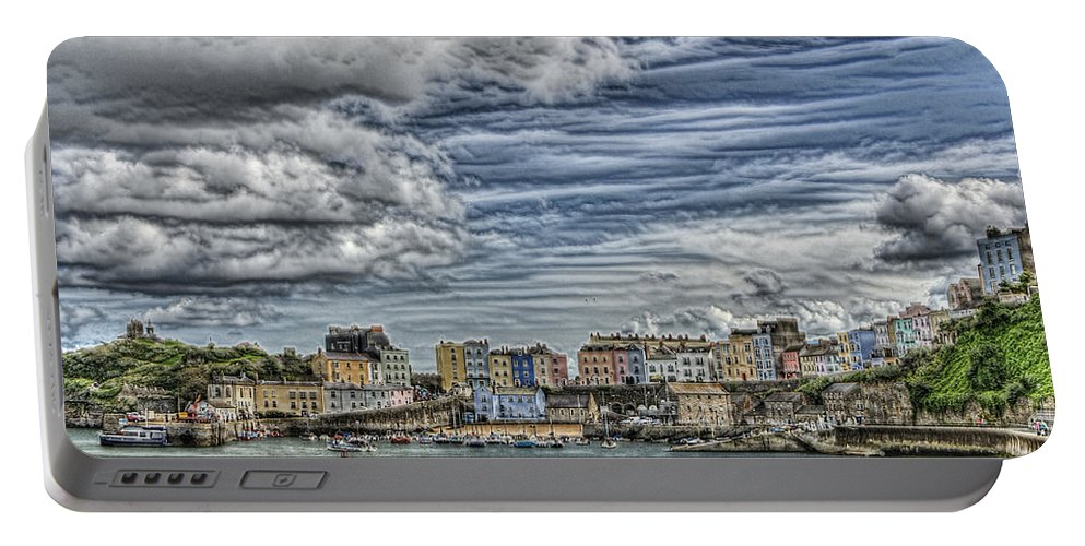 Tenby Harbour Portable Battery Charger featuring the photograph Tenby Harbour Texture Effect by Steve Purnell