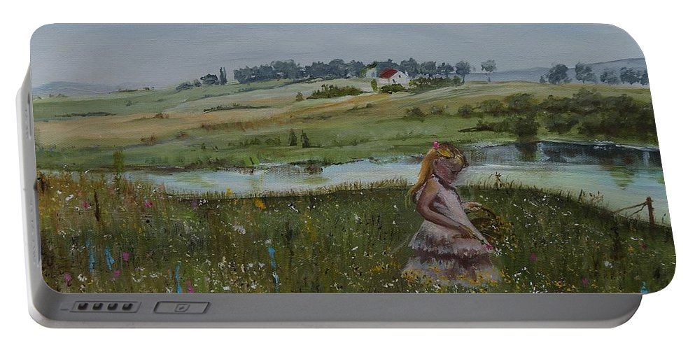 Impression Portable Battery Charger featuring the painting Tender Blossom - Lmj by Ruth Kamenev
