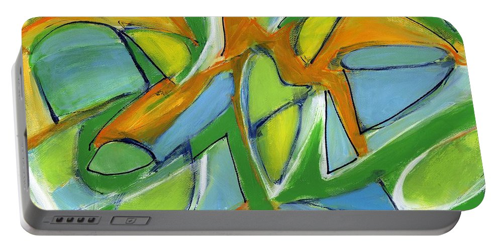 Abstract Portable Battery Charger featuring the painting Tender Heart by Lynne Taetzsch