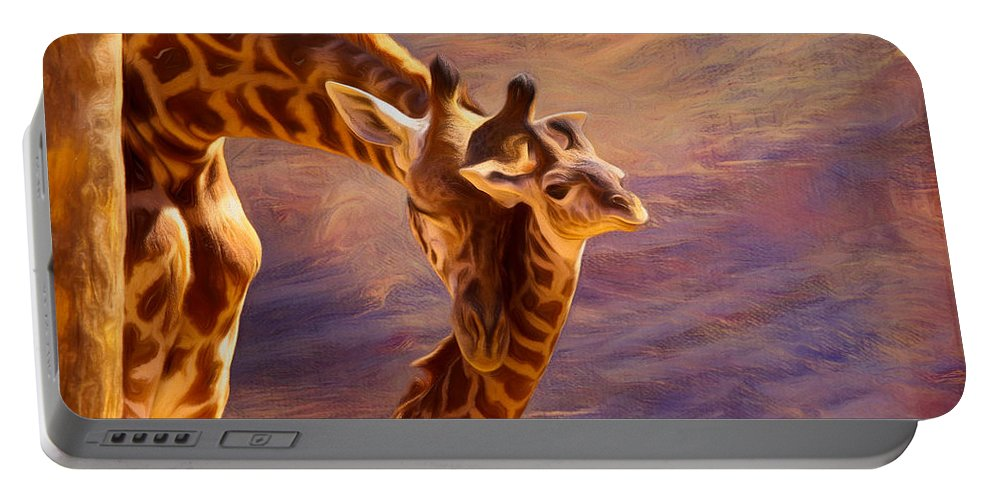Giraffe Portable Battery Charger featuring the mixed media Tenderness Painted by Judy Vincent