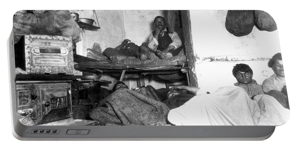 1889 Portable Battery Charger featuring the photograph Tenement Life, Nyc, C1889 by Granger