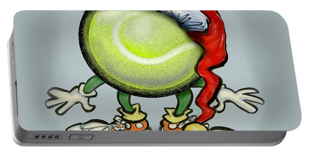 Tennis Portable Battery Charger featuring the greeting card Tennis Christmas by Kevin Middleton