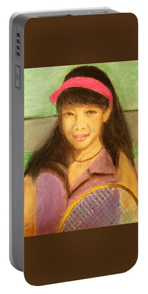 Portrait Portable Battery Charger featuring the painting Tennis Player, 8x10, Pastel, '07 by Lac Buffamonti