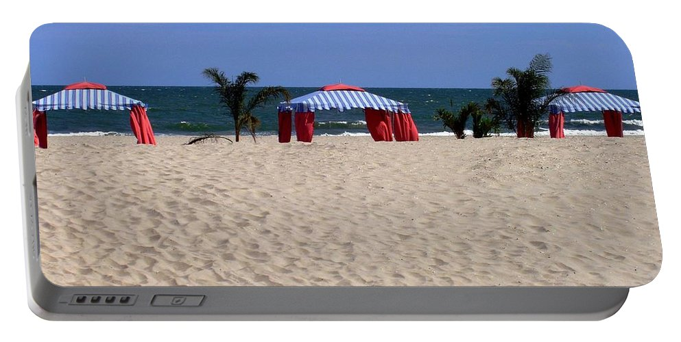 Beach Portable Battery Charger featuring the photograph Tent Caravan by Deborah Crew-Johnson