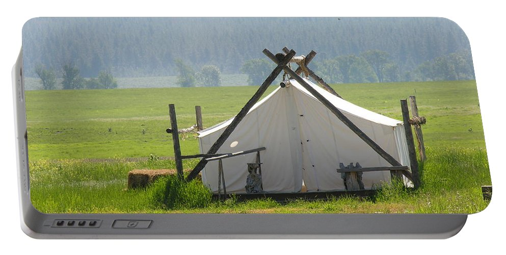 Montana Portable Battery Charger featuring the photograph Tent Living Montana 2010 by Diane Greco-Lesser