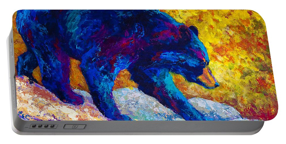 Bear Portable Battery Charger featuring the painting Tentative Step - Black Bear by Marion Rose