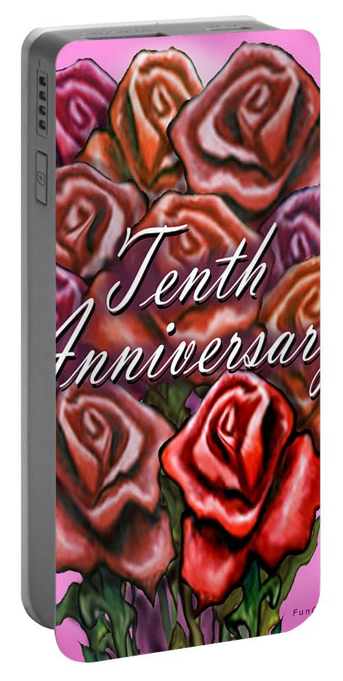 Tenth Portable Battery Charger featuring the greeting card Tenth Anniversary by Kevin Middleton