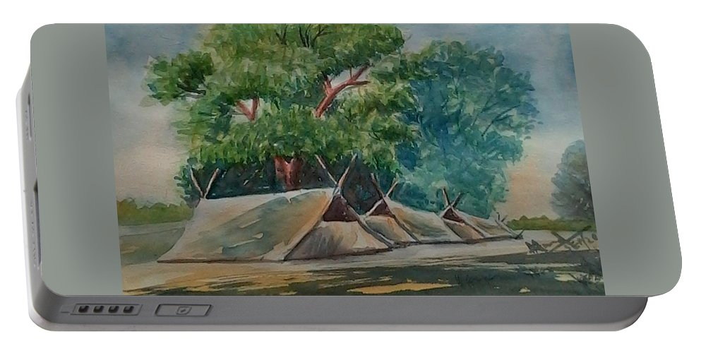 Trees Portable Battery Charger featuring the painting Tents Under Tree by Ajay Anand