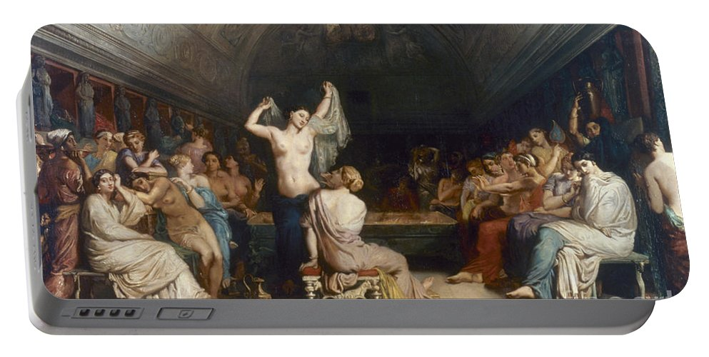 1853 Portable Battery Charger featuring the painting Tepidarium, 1853 by Granger