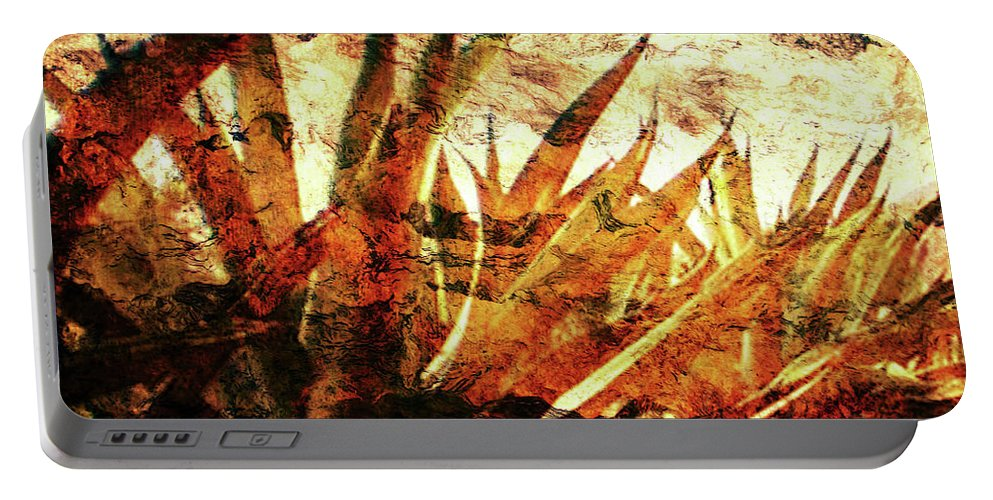 Agave Paintings Portable Battery Charger featuring the digital art T E Q U I L A  . F I E L D by J - O  N  E