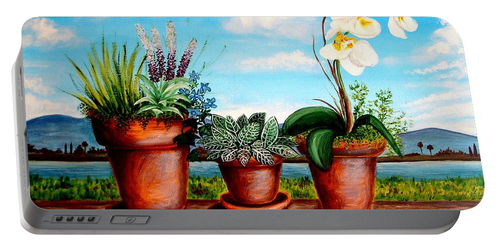 Landscape Portable Battery Charger featuring the painting Terra Cotta Blues by Elizabeth Robinette Tyndall
