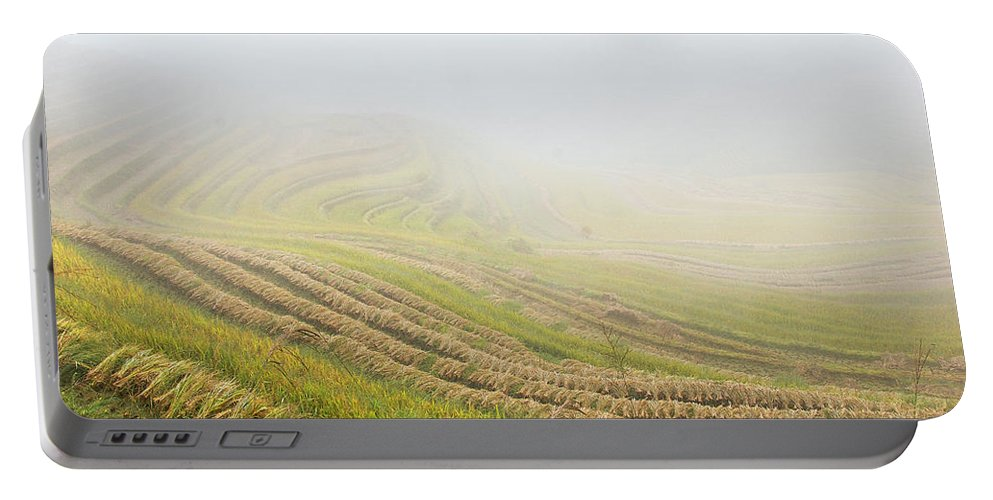 Terrace Portable Battery Charger featuring the photograph Terrace Fields Scenery In Autumn by Carl Ning
