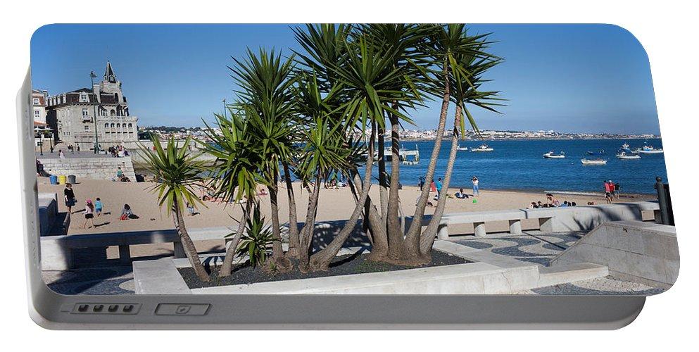 Cascais Portable Battery Charger featuring the photograph Terrace Promenade At Ribeira Beach In Cascais by Artur Bogacki