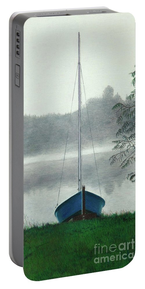 Seascape Portable Battery Charger featuring the drawing Terry's Runabout by Pamella Bernard