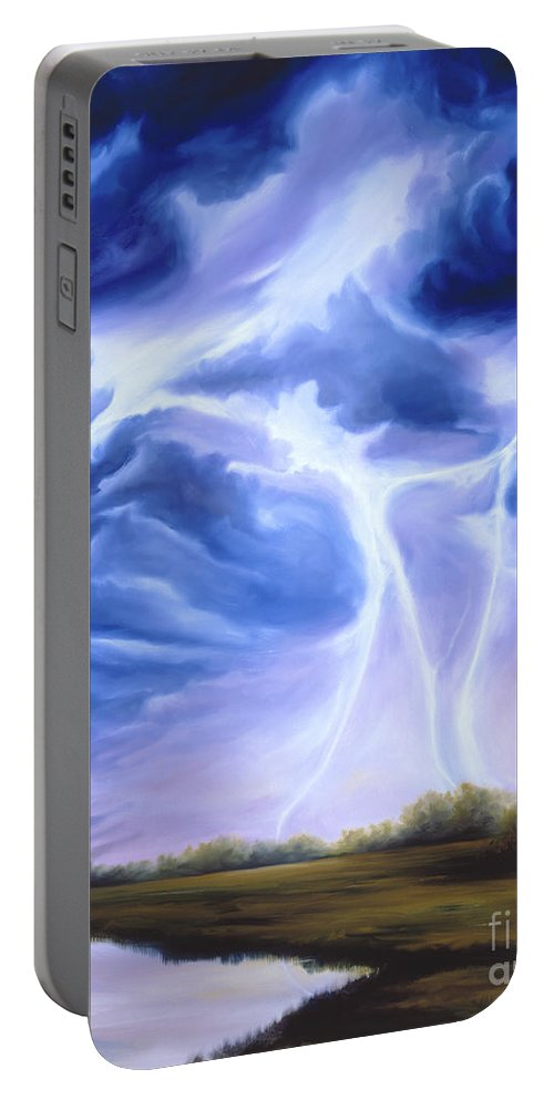 Marsh Portable Battery Charger featuring the painting Tesla by James Christopher Hill