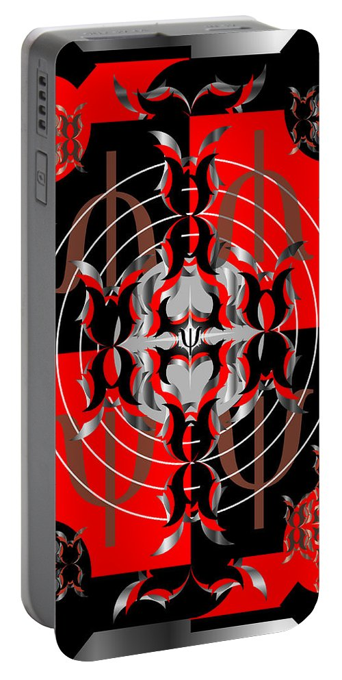 Abastract Portable Battery Charger featuring the digital art Test Pattern 4 by George Pasini