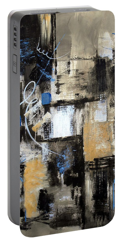 Abstract Portable Battery Charger featuring the painting Testing The Waters by Ruth Palmer