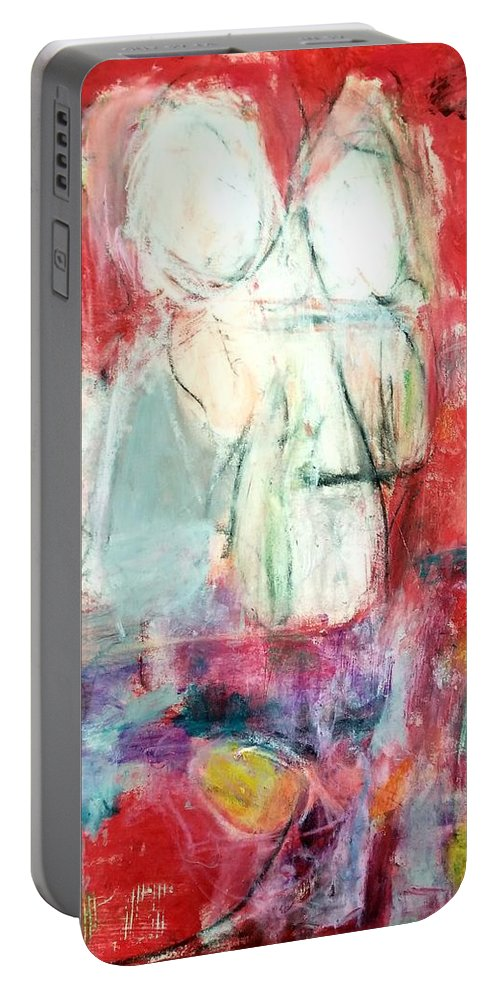 Red Portable Battery Charger featuring the painting Tete-a-tete by Patricia Byron